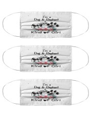 im a dog and elephant kind of girl mask Cloth Face Mask - 3 Pack front