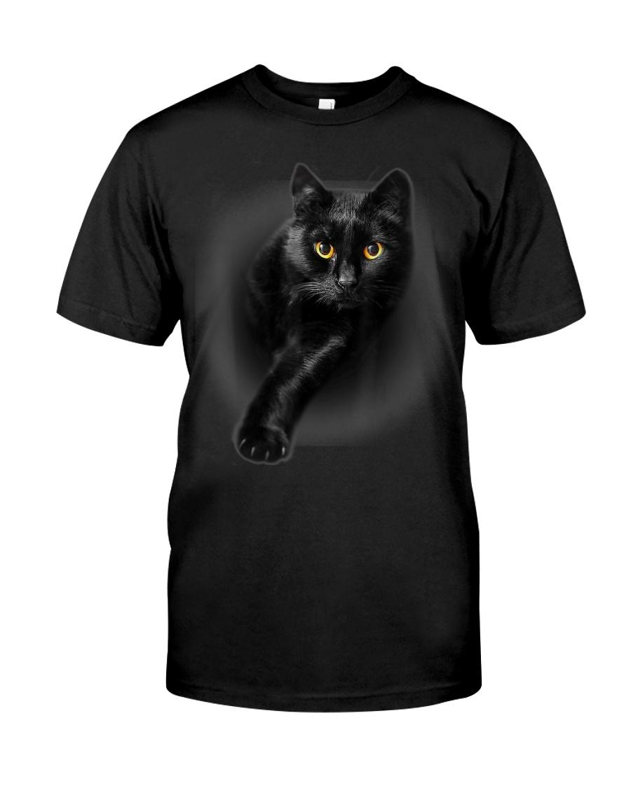 Black Cat Yellow Eyes T-Shirt Cats  Classic T-Shirt