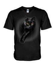 Black Cat Yellow Eyes T-Shirt Cats  V-Neck T-Shirt thumbnail