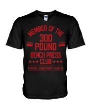 300 Pound Bench Press Club Strong Powerlift V-Neck T-Shirt thumbnail