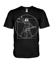 Vitruvian Man Guitar Shirt Da Vinci Gu V-Neck T-Shirt tile