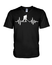 Hockey frequency T V-Neck T-Shirt tile