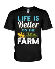 Life Is Better On The Farm Funny  V-Neck T-Shirt thumbnail