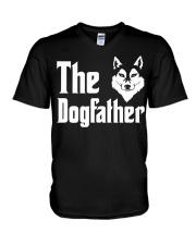 Siberian Husky Tshirt Dogfather Fathers Day  V-Neck T-Shirt thumbnail