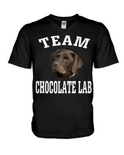 Team Chocolate Lab Labrador Retriever Dog Fun V-Neck T-Shirt tile