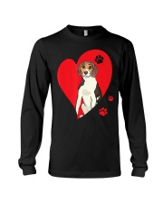 Treeing Walker Coonhound Red Heart Valentine Long Sleeve Tee thumbnail
