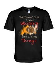 Humorous Alcohol T-shirt I Drink Whisk V-Neck T-Shirt thumbnail
