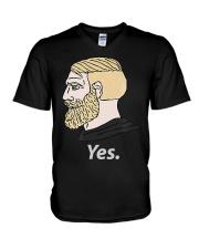 Chad Yes Meme Internet Funny Nordic Alpha Ki V-Neck T-Shirt thumbnail