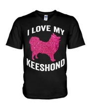 i love my Keeshond - Cute Funny Dog Mom m V-Neck T-Shirt tile