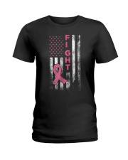 Breast Cancer Awareness T-Shirt Fight American Fla Ladies T-Shirt thumbnail
