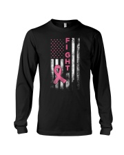 Breast Cancer Awareness T-Shirt Fight American Fla Long Sleeve Tee thumbnail