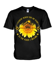 Sunflower Country Roads Take Me Home V-Neck T-Shirt thumbnail