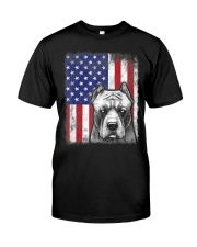 Pitbull American Flag Shirt USA Patriotic D Classic T-Shirt front