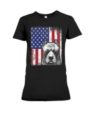Pitbull American Flag Shirt USA Patriotic D Premium Fit Ladies Tee thumbnail