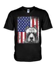 Pitbull American Flag Shirt USA Patriotic D V-Neck T-Shirt thumbnail