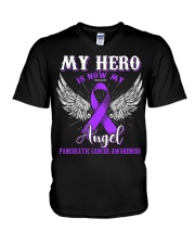 My Hero Is Now My Angel Pancreatic  V-Neck T-Shirt thumbnail