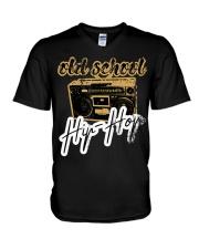 Old School Hip-Hop with Retro Radio Ghettobla V-Neck T-Shirt thumbnail