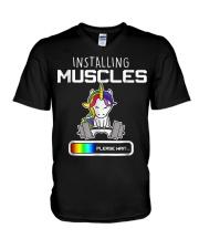 Installing Muscles - Unicorn Loading - V-Neck T-Shirt thumbnail