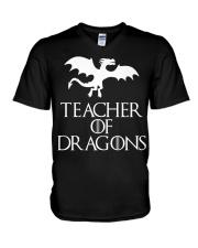 Teacher Of Dragons T-Shirt Halloween Funny Co V-Neck T-Shirt thumbnail
