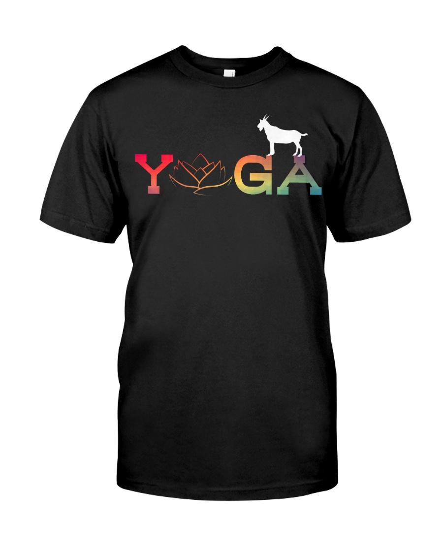 Womens Yoga Goat Farming-Goat Yoga L Classic T-Shirt