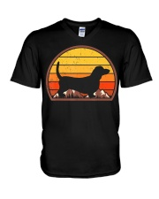 Sunset Silhouette Vintage Retro Basset Hound  V-Neck T-Shirt tile