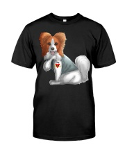 Papillon I Love Mom Tattoo Dog Funny Mother's Classic T-Shirt front