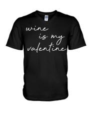 Womens Wine Is My Valentine  V-Neck T-Shirt tile
