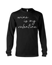Womens Wine Is My Valentine  Long Sleeve Tee tile