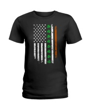 Womens IRISH AMERICAN Flag Ireland Flag ST Ladies T-Shirt thumbnail