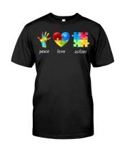 Peace Love Autism Awareness Long Sleeve  Classic T-Shirt thumbnail