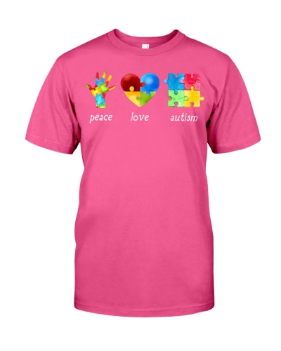 Peace Love Autism Awareness Long Sleeve