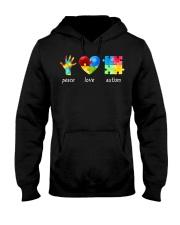 Peace Love Autism Awareness Long Sleeve  Hooded Sweatshirt thumbnail
