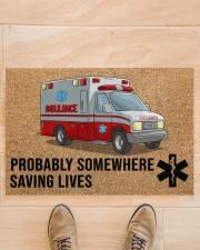 "EMT Paramedic Probably somewhere saving lives Doormat 34"" x 23"" aos-doormat-34-x-23-lifestyle-front-02"
