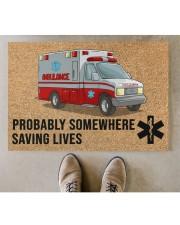 "EMT Paramedic Probably somewhere saving lives Doormat 34"" x 23"" aos-doormat-34-x-23-lifestyle-front-04"