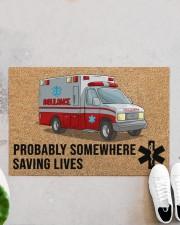 "EMT Paramedic Probably somewhere saving lives Doormat 34"" x 23"" aos-doormat-34-x-23-lifestyle-front-06"
