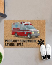 "EMT Paramedic Probably somewhere saving lives Doormat 34"" x 23"" aos-doormat-34-x-23-lifestyle-front-07"