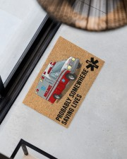 "EMT Paramedic Probably somewhere saving lives Doormat 34"" x 23"" aos-doormat-34-x-23-lifestyle-front-08"
