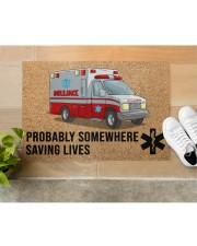 "EMT Paramedic Probably somewhere saving lives Doormat 34"" x 23"" aos-doormat-34-x-23-lifestyle-front-12"