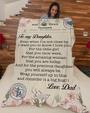 "Lineman To my daughter Large Fleece Blanket - 60"" x 80"" aos-coral-fleece-blanket-60x80-lifestyle-front-04"