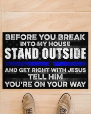 """Police Before you break into my house  Doormat 22.5"""" x 15""""  aos-doormat-22-5x15-lifestyle-front-02"""