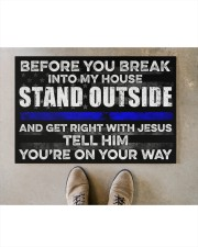 """Police Before you break into my house  Doormat 22.5"""" x 15""""  aos-doormat-22-5x15-lifestyle-front-04"""