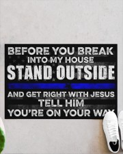 """Police Before you break into my house  Doormat 22.5"""" x 15""""  aos-doormat-22-5x15-lifestyle-front-06"""