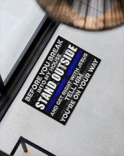 """Police Before you break into my house  Doormat 22.5"""" x 15""""  aos-doormat-22-5x15-lifestyle-front-08"""