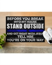 """Police Before you break into my house  Doormat 22.5"""" x 15""""  aos-doormat-22-5x15-lifestyle-front-12"""