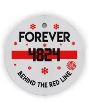 Firefighter Behind the red line Circle ornament - single (wood) thumbnail