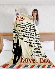 "Lineman To my son LineBlanket249 Large Fleece Blanket - 60"" x 80"" aos-coral-fleece-blanket-60x80-lifestyle-front-11"