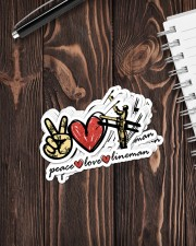 Peace Love Lineman  Sticker - 8 pack (Vertical) aos-sticker-8-pack-vertical-lifestyle-front-05