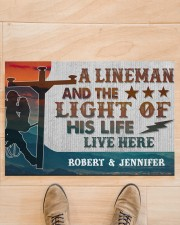 "Lineman and the light of his life live here Doormat 34"" x 23"" aos-doormat-34-x-23-lifestyle-front-02"