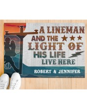 "Lineman and the light of his life live here Doormat 34"" x 23"" aos-doormat-34-x-23-lifestyle-front-03"