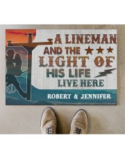 "Lineman and the light of his life live here Doormat 34"" x 23"" aos-doormat-34-x-23-lifestyle-front-04"
